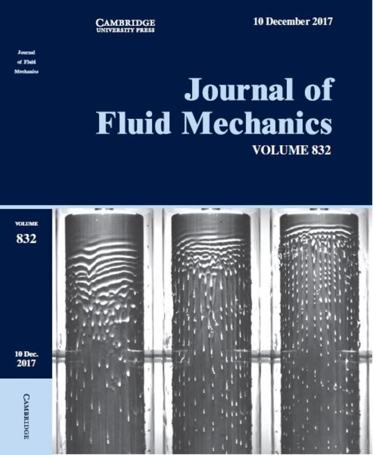 "WSA research on the cover of December issue of ""Journal of Fluid"